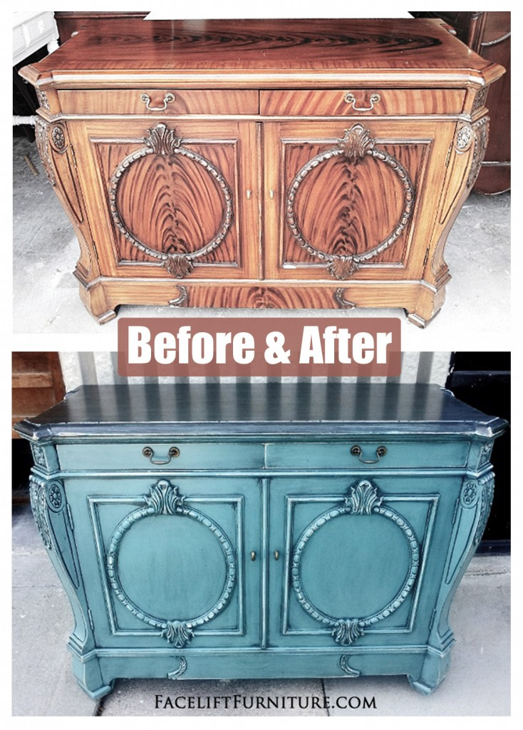 Ornate Sea Blue Buffet Before After Facelift Furniture