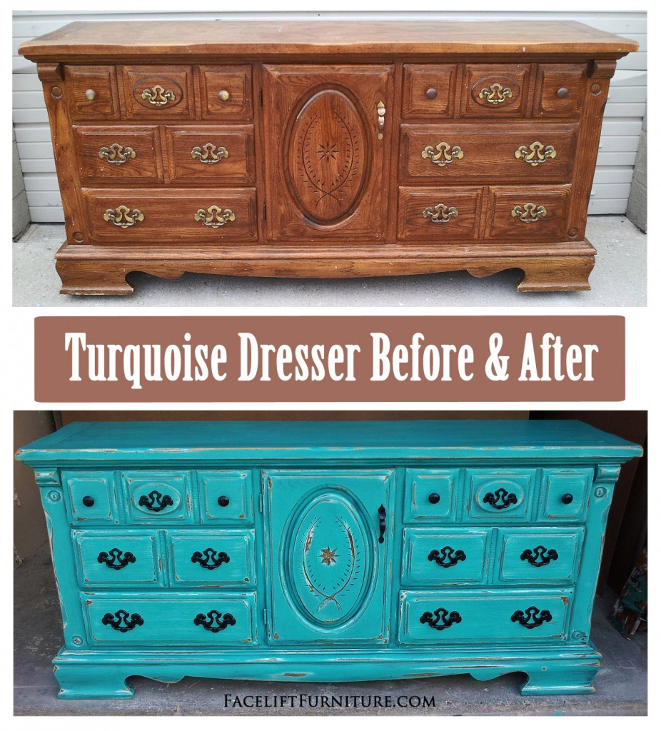 Rustic Turquoise Dresser Before After Facelift Furniture