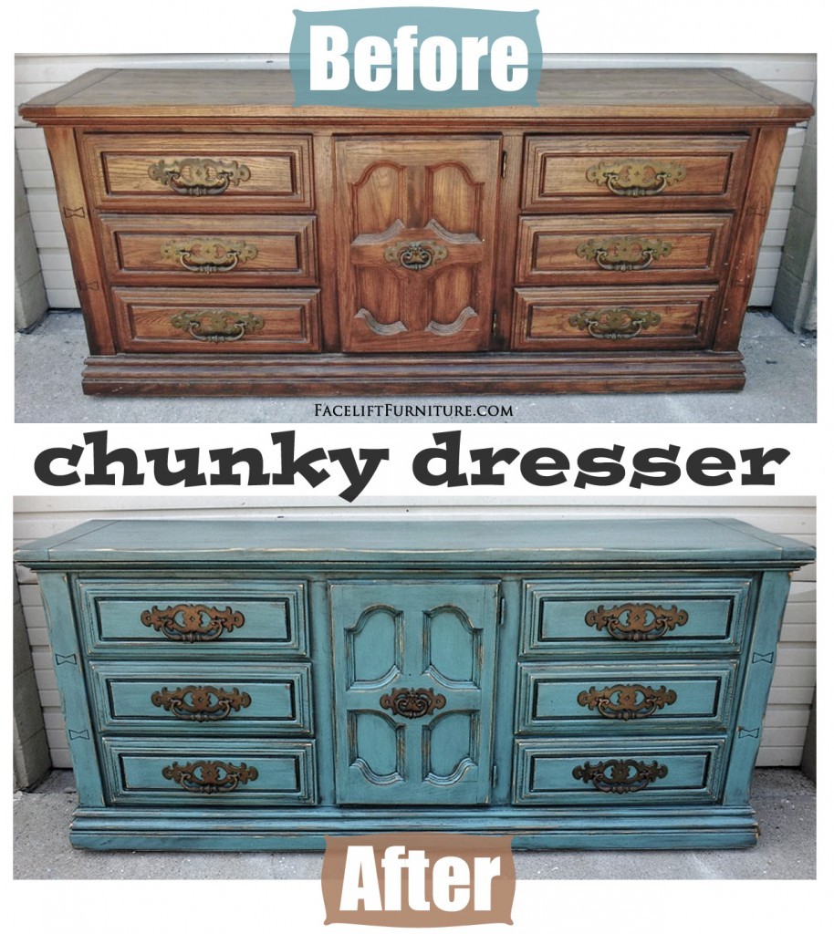 Chunky Sea Blue Dresser Before Amp After Facelift Furniture