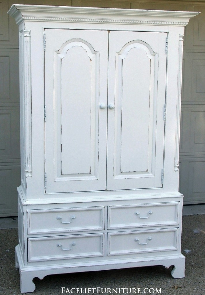 Distressed white clothing armoire facelift furniture for White furniture