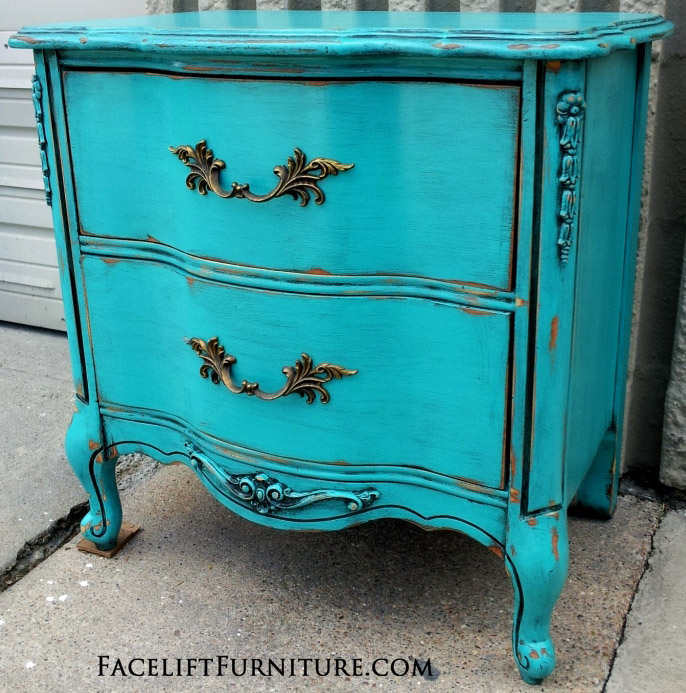 Turquoise French Nightstand Before & After Facelift