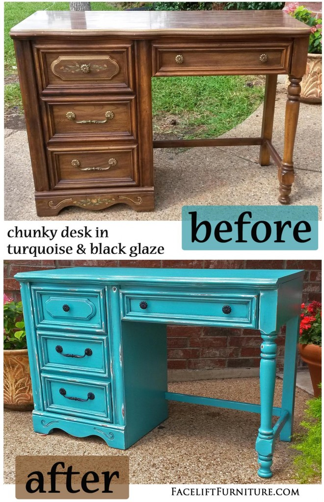 turquoise chunky desk before after facelift furniture
