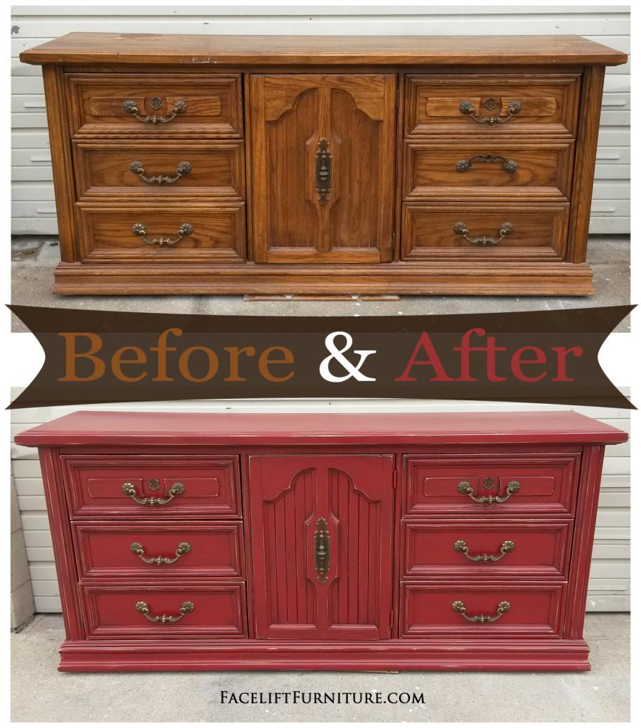 Distressed Barn Red Dresser Before & After Facelift