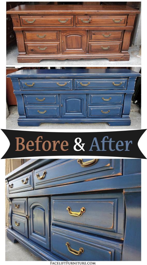 Distressed Denim Blue Dresser Before Amp After Facelift