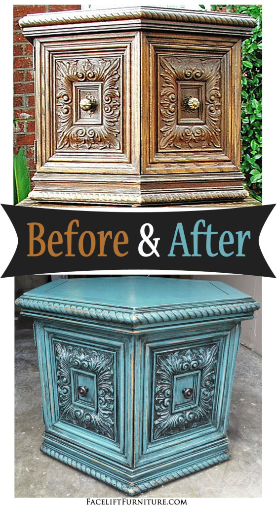 Sea blue chunky hexagon end table before after for Painted dining table before and after
