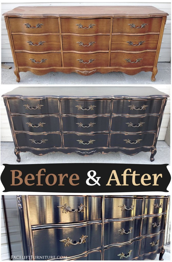 Black French Provincial Dresser Before Amp After