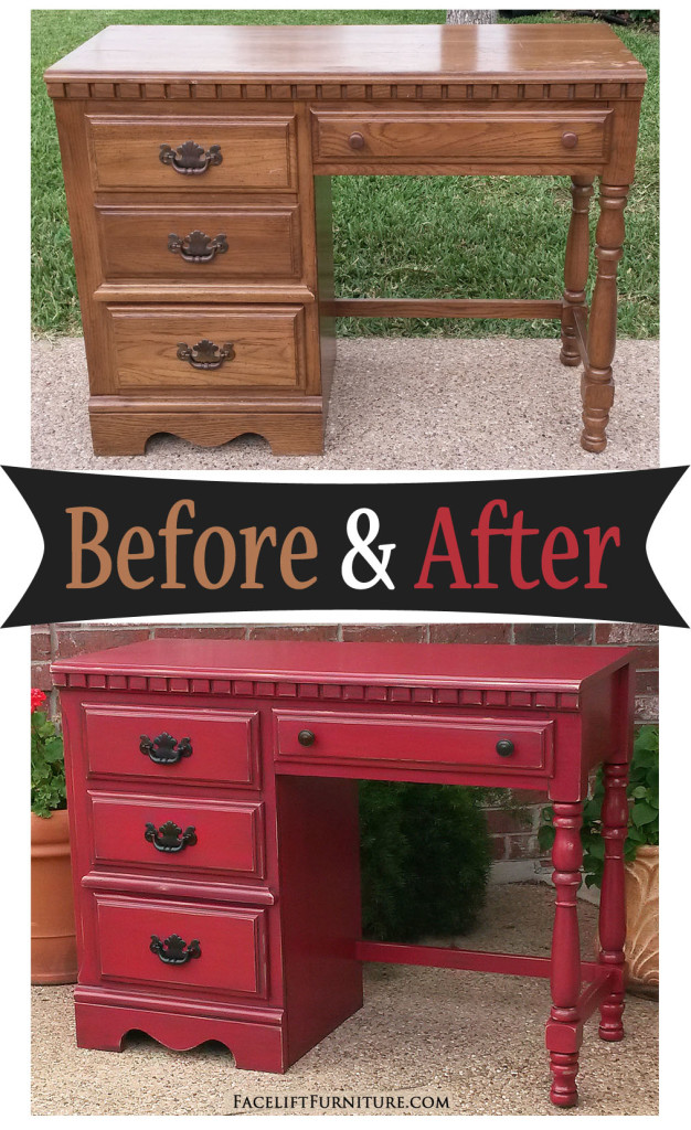Distressed Barn Red Desk Before amp After Facelift Furniture