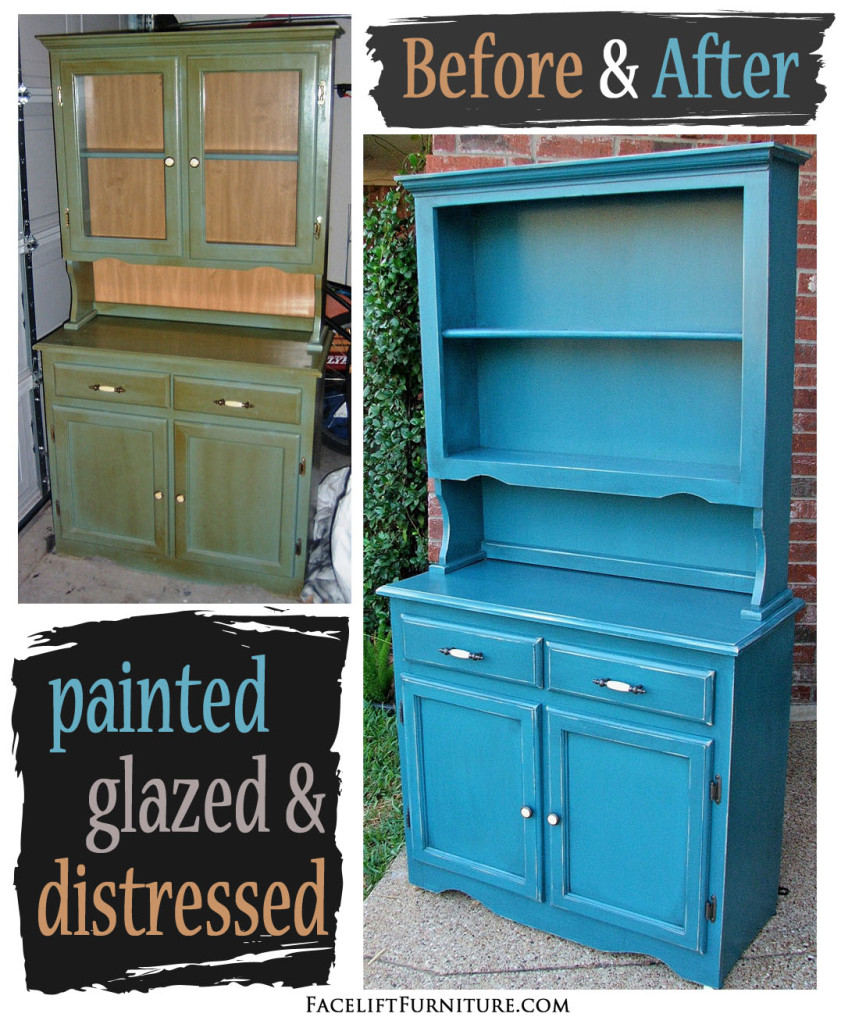 Hutch In Pea Blue With Black Glaze