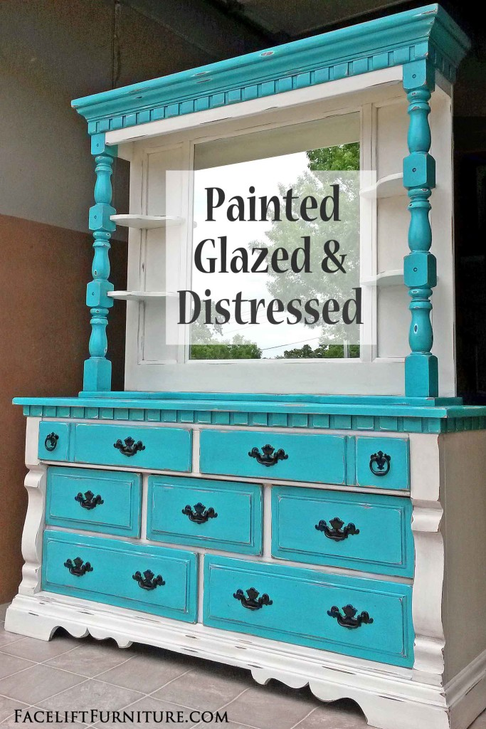 Distressed Turquoise & f White Dresser with Mirror Hutch
