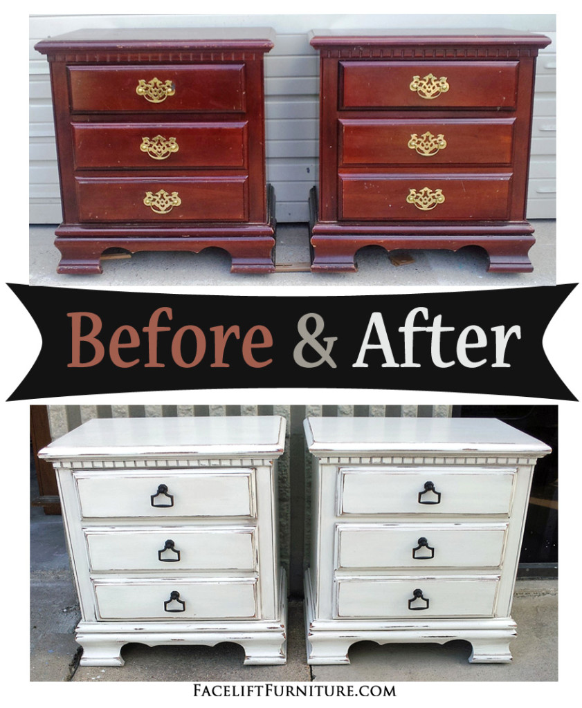 Distressed Antiqued White Nightstands Before After