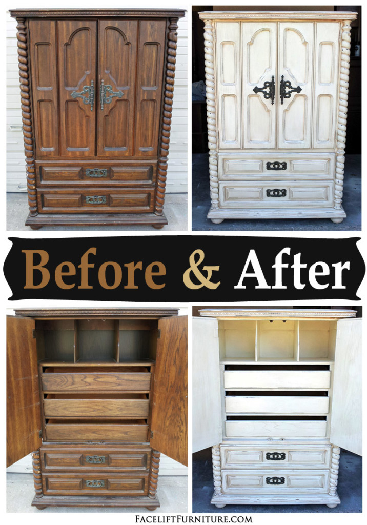chunky clothing armoire in distressed off white before after facelift furniture. Black Bedroom Furniture Sets. Home Design Ideas