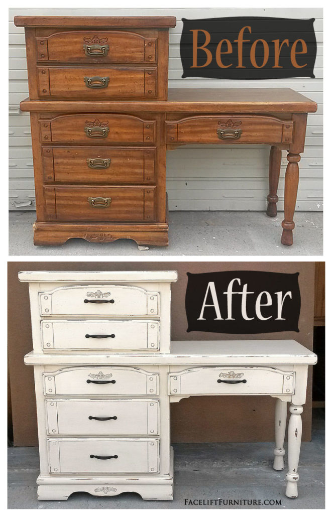 Chest With A Desk In Distressed Off White Before After Facelift Furniture