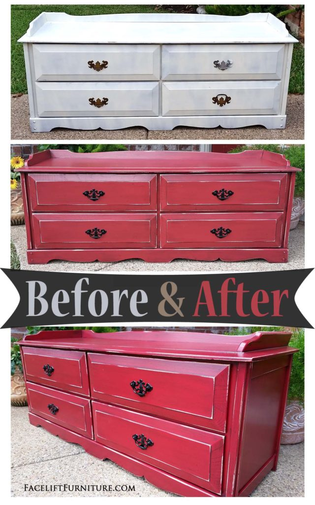 chest in distressed barn red black glaze before after facelif