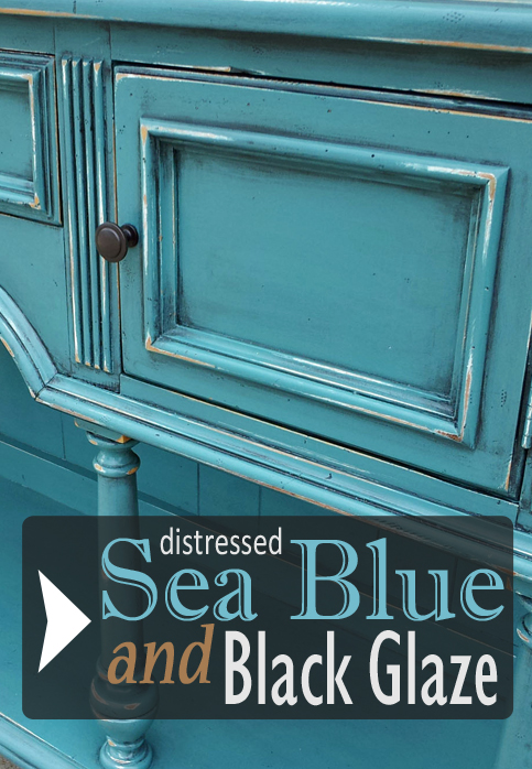 Buffet In Distressed Sea Blue With Black Glaze Facelift Furniture