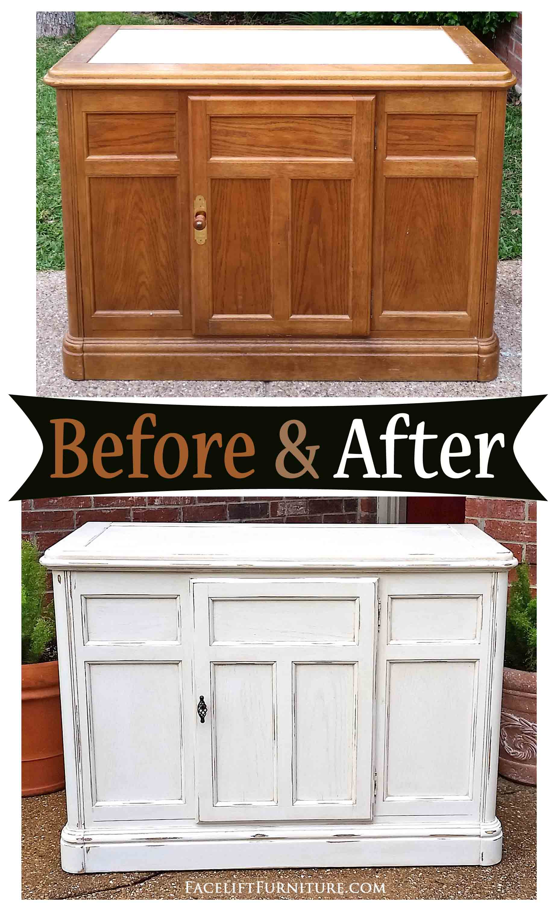 Cabinet In Distressed Off White With Tobacco Glaze U2013 Before U0026 After