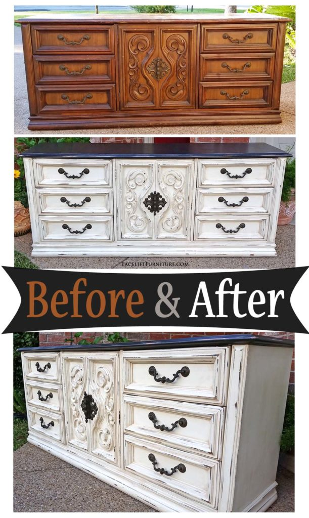dresser in distressed dark brown off white before after