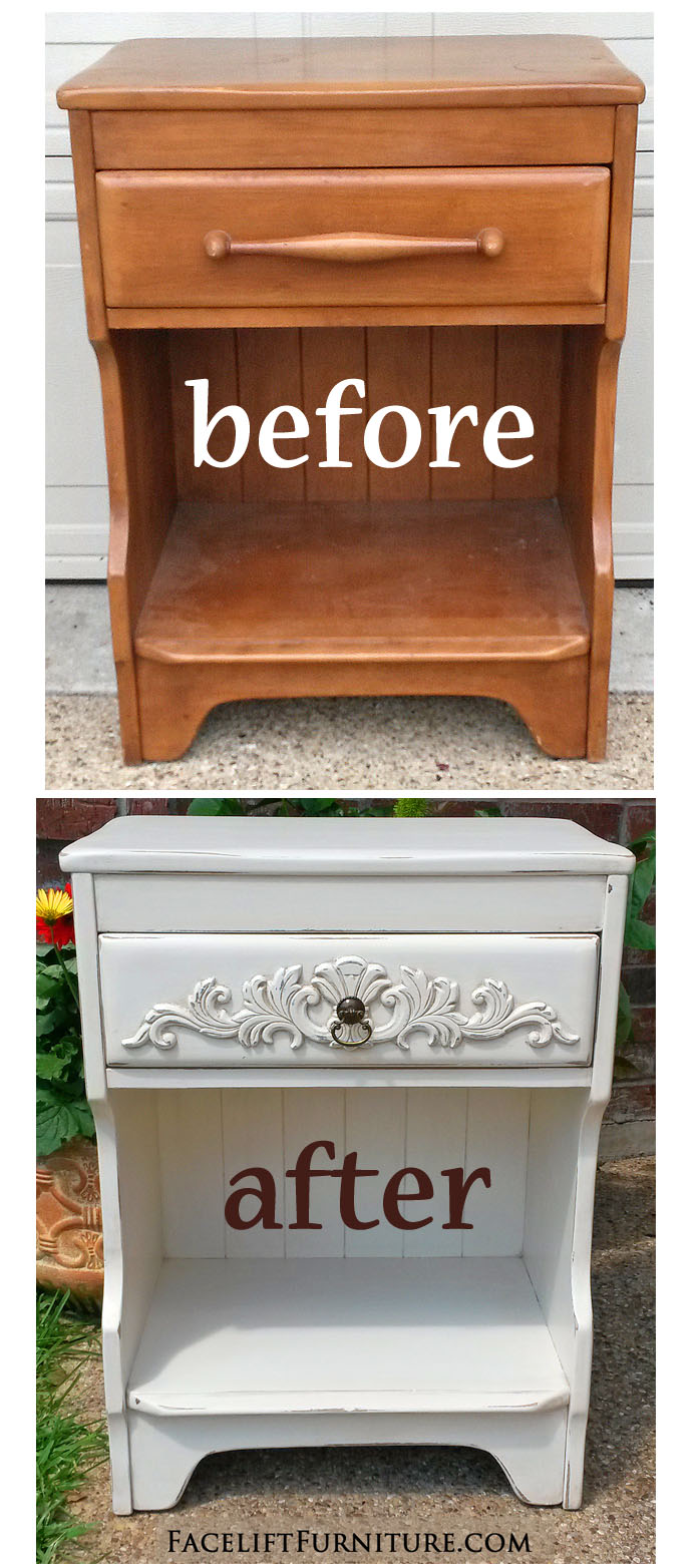 Off White Maple Nightstand Before After Facelift Furniture